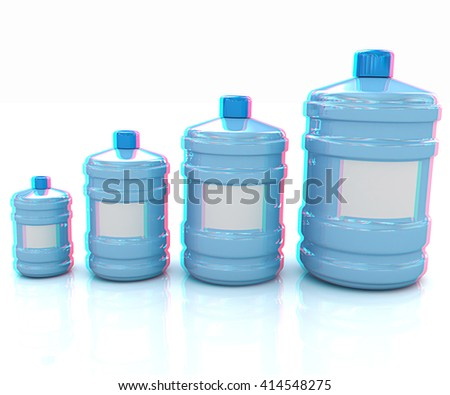 water bottles. 3D illustration. Anaglyph. View with red/cyan glasses to see in 3D. - stock photo