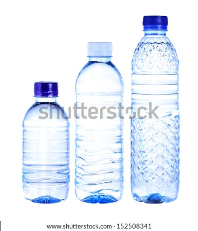 water bottles isolated on white background - stock photo