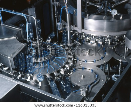 water bottling plant - stock photo