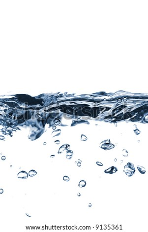 Water bubbles and action over white background - stock photo