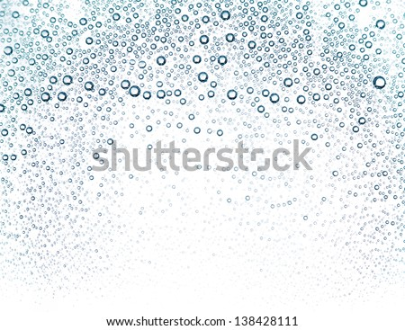 Water bubbles in a glass container close up - stock photo