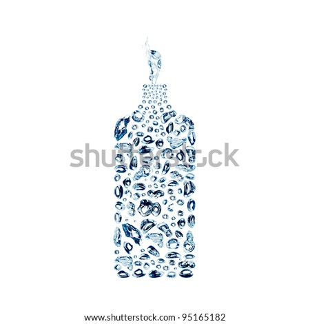 water bubbles in the shape of bottle on white background - stock photo