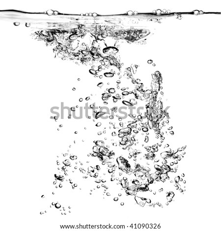 water bubbles isolated on white - stock photo