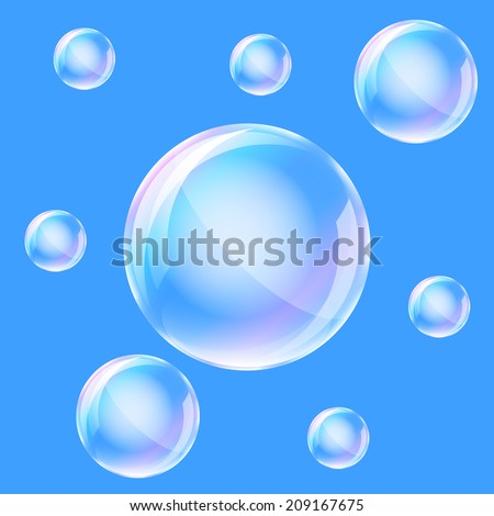 Water bubbles on the blue background