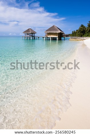 Water bungalow at afternoon, Maldives - stock photo