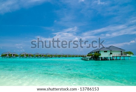 Water Bungalows on an maldivian island in the indian ocean