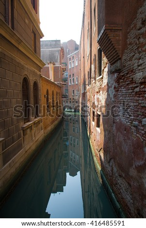 Water canal in the Jewish Ghetto, the historical city of Venezia in Italy