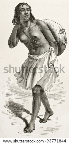 Water carrier girl old engraved portrait (Monkoullo village, Abyssinia). Created by Bayard after Lejean, published on Le Tour du Monde, Paris, 1867 - stock photo