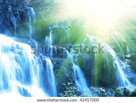 water cascade - stock photo