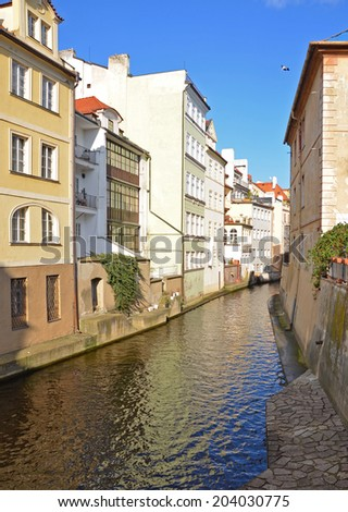 """Water channel Certovka in Prague, called the """"Little Prague Venice"""". - stock photo"""