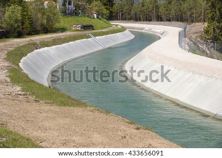 water channel of river Isar in Germany for hydroelectric power station - stock photo
