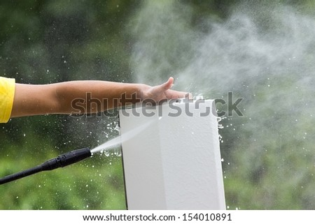 Water cleaning cloth cover air before maintenance. - stock photo
