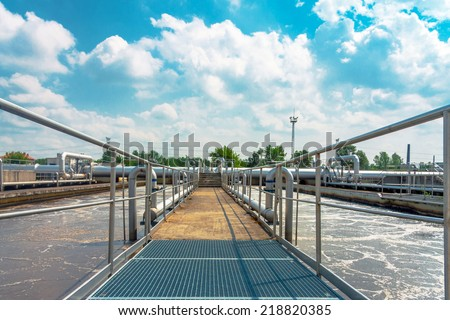 Water cleaning facility - stock photo