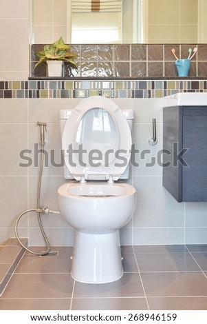 Water closet with hygienic hand spray in modern style toilet at home - stock photo