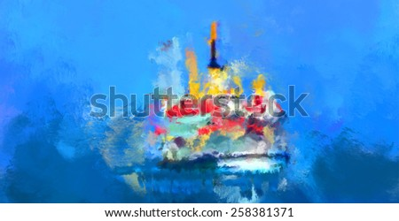 water color boat in istanbul bosphorus - stock photo