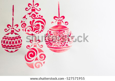 Water color Christmas ball  as a christmas time decoration with copyspace