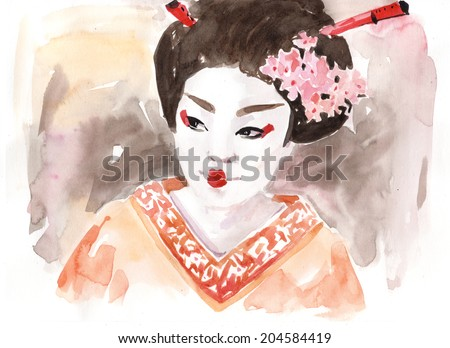 Water color drawing paining face portrait abstract japanese geisha woman wearing traditional clothes. Multi cultural nations concept. High resolution conceptual watercolor draw collection.  - stock photo