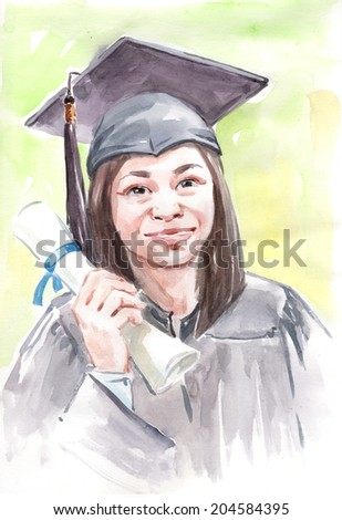 Water color drawing paining face portrait of abstract college university female graduate with diploma certificate. High resolution draw conceptual watercolor collection.  - stock photo