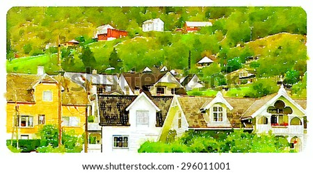 water color illustration bergen city