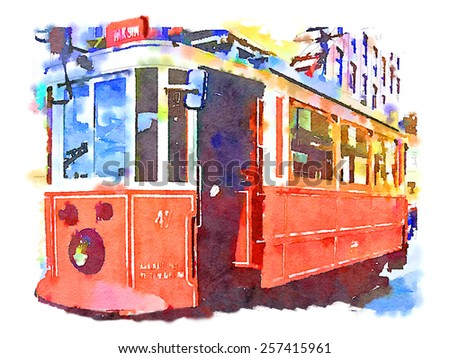 water color istanbul tram - stock photo