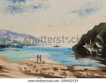 water color painted beach with two people enjoying the evening