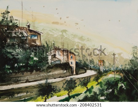 Water color painted village with two houses beside the road and a farming place with trees