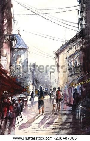 Water color painting with people standing and walking in an old city street with old buildings