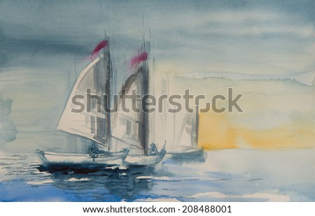 Water color painting with yachts in a beautiful sunset