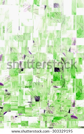 water color strokes painting by kid on white background with cut and paste techniques in green color tone. - stock photo
