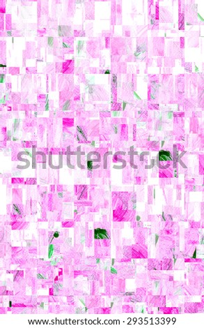 water color strokes painting by kid on white background with wave filter effect in ping color. - stock photo