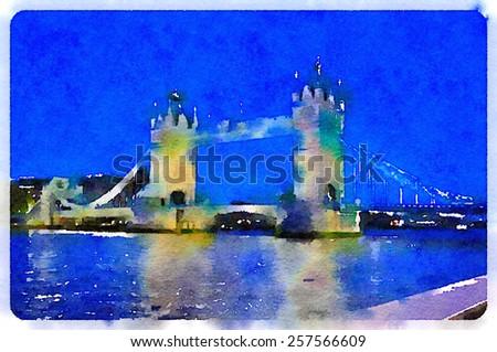 water color tower bridge london - stock photo