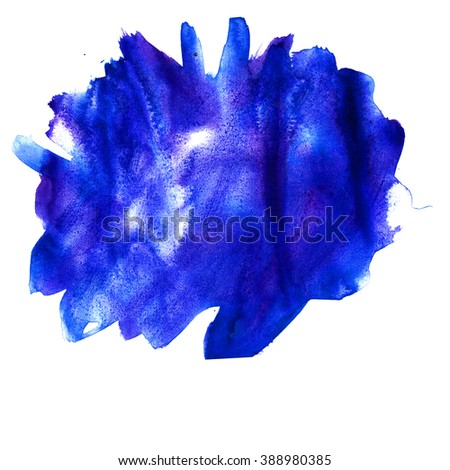 water color  watercolor texture blue splash blotch watercolour isolated on white background