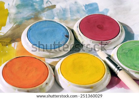 Water color with brush - stock photo