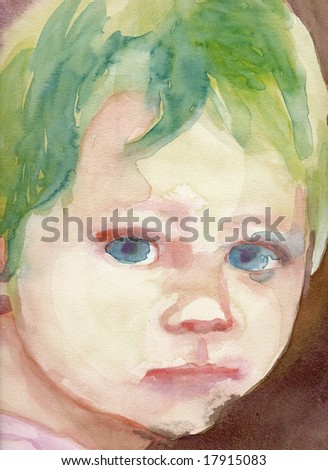 water colors baby 5, hand painted picture