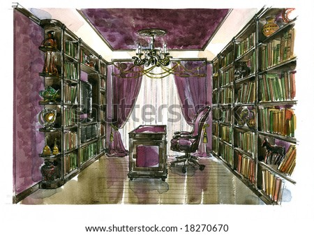 Water-colour sketch of an interior apartment - stock photo