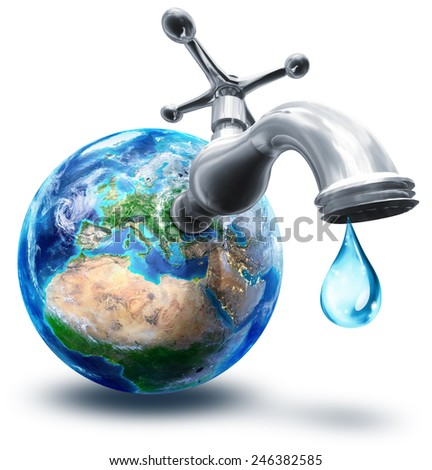 water conservation concept in Europe - elements of this image furnished by NASA  - stock photo