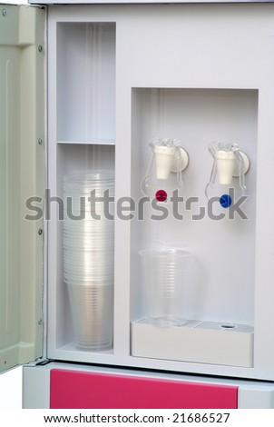 Water cooler isolated on white - stock photo