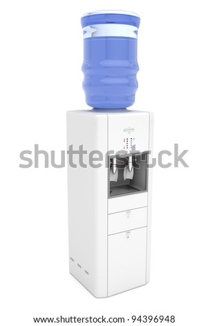 Water cooler on white background - stock photo