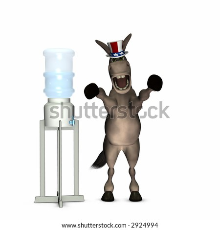 Water Cooler Politics - Democrat, represented by a donkey. Political humor. - stock photo
