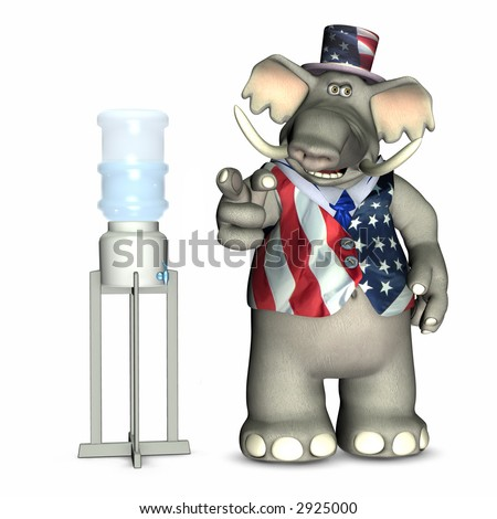 Water Cooler Politics - Republican, represented by an elephant. Political humor. - stock photo