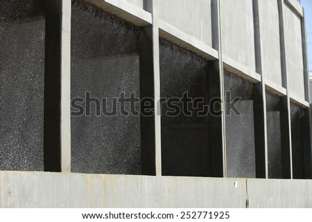 Water cooling building for power plant. - stock photo