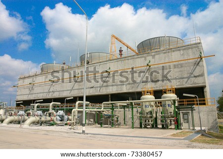 Water cooling systems tower for ventilation from the petrochemical production g - stock photo