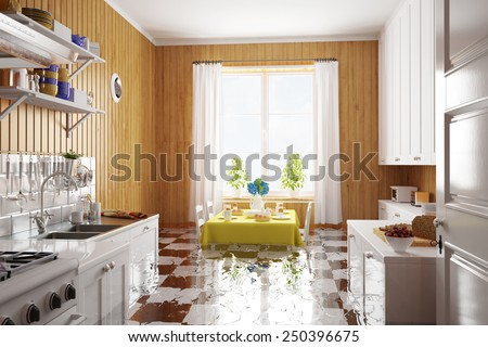 Water damage after flooding in kitchen in a house (3D Rendering) - stock photo