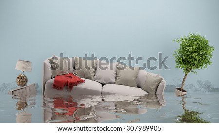 Water damager after flooding in house with furniture floating (3D Rendering) - stock photo