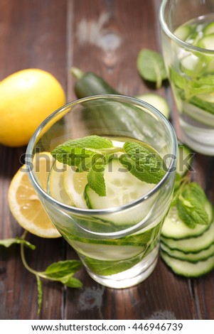 water detox, lemon and cucumber infused