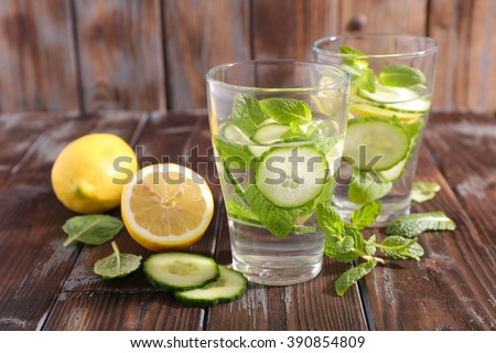 water detox with cucumber and lemon - stock photo