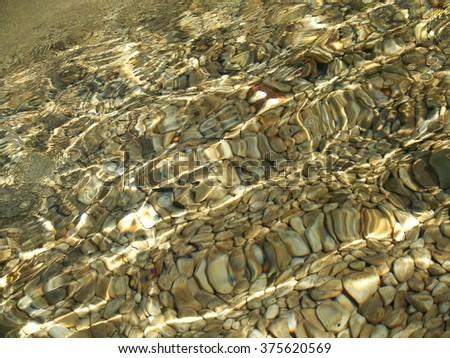 water diagonal waves on rocks - stock photo