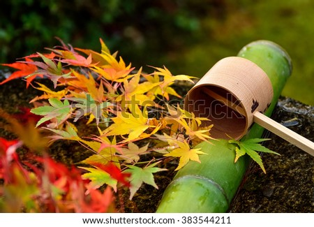 Water dipper on stone basin with red maple leaves at Enkoji Temple in Kyoto, Japan,selective focus. - stock photo