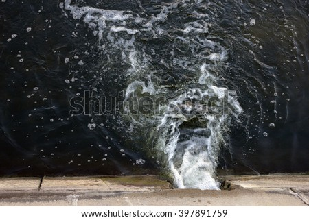 water discharge into the river from urban drainage systems, Moscow, Russia