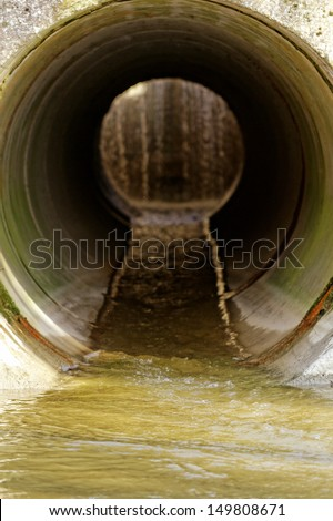 water drainage channel - stock photo